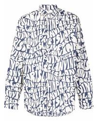 Camisa de manga larga estampada en azul marino y blanco de Lanvin