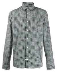 Camisa de manga larga estampada en blanco y azul marino de Kenzo