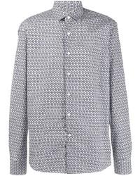 Camisa de manga larga estampada en blanco y azul marino de Salvatore Ferragamo