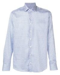 Camisa de manga larga estampada en blanco y azul de Etro