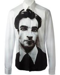 Camisa de manga larga estampada en blanco y negro