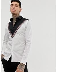 Camisa de manga larga estampada en blanco y negro de ASOS DESIGN