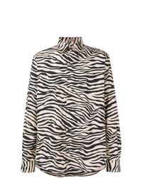 Camisa de manga larga estampada en blanco y negro de Bottega Veneta