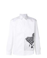 Camisa de manga larga estampada en blanco y negro de Calvin Klein Jeans