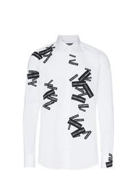 Camisa de manga larga estampada en blanco y negro de Dolce & Gabbana