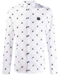 Camisa de manga larga estampada en blanco y negro de Philipp Plein