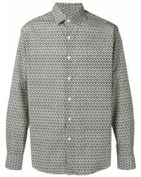 Camisa de manga larga estampada en blanco y negro de Salvatore Ferragamo