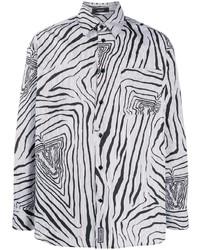 Camisa de manga larga estampada en blanco y negro de Versace