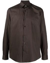Camisa de manga larga estampada en marrón oscuro de Salvatore Ferragamo