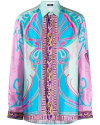 Camisa de manga larga estampada en multicolor de Versace Collection