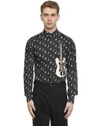 Camisa de manga larga estampada en negro y blanco