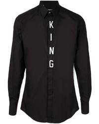 Camisa de manga larga estampada en negro y blanco de Dolce & Gabbana
