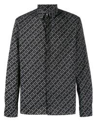 Camisa de manga larga estampada en negro y blanco de Fendi