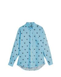 Camisa de manga larga estampada en turquesa de Burberry