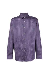 Camisa de manga larga estampada en violeta de Canali