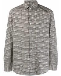 Camisa de manga larga estampada gris de Salvatore Ferragamo