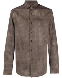 Camisa de manga larga estampada marrón de Salvatore Ferragamo