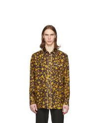 Camisa de manga larga estampada mostaza de Versace