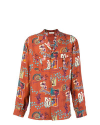 Camisa de manga larga estampada naranja de Etro