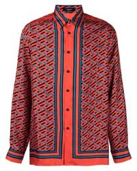 Camisa de manga larga estampada naranja de Versace
