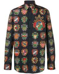 Camisa de manga larga estampada negra de Dolce & Gabbana
