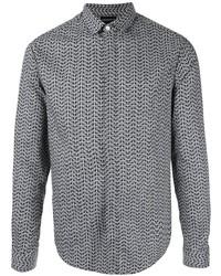 Camisa de manga larga estampada negra de Emporio Armani
