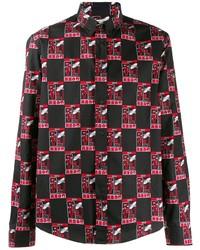 Camisa de manga larga estampada negra de Kenzo