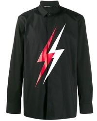 Camisa de manga larga estampada negra de Neil Barrett