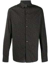 Camisa de manga larga estampada negra de Salvatore Ferragamo