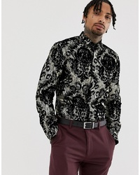 Camisa de manga larga estampada negra de Twisted Tailor