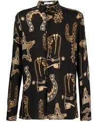Camisa de manga larga estampada negra de Versace Collection