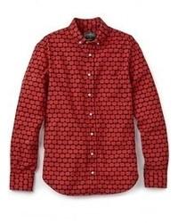 Camisa de Manga Larga Estampada Roja