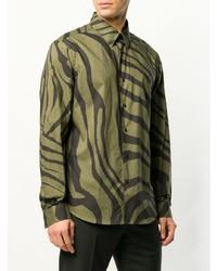 Camisa de manga larga estampada verde oliva de Roberto Cavalli