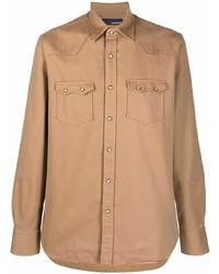 Camisa de manga larga marrón claro de Lardini
