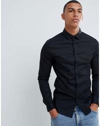 Camisa de manga larga negra de ASOS DESIGN