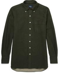 Camisa de manga larga verde oliva de Drakes