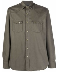 Camisa de manga larga verde oliva de Lardini