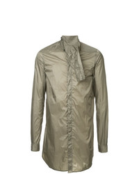 Camisa de manga larga verde oliva de Rick Owens
