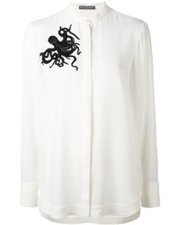 Camisa de seda con adornos blanca de Alexander McQueen