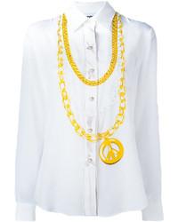 Camisa de seda estampada blanca de Moschino
