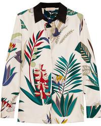 Camisa de seda estampada blanca de Tory Burch