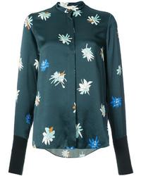 Camisa de seda estampada en verde azulado de Roksanda