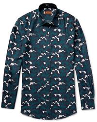 Camisa de seda estampada en verde azulado de Tod's