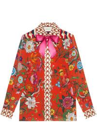 Camisa de seda estampada roja de Gucci