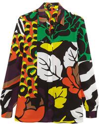Camisa de seda estampada verde oscuro de Versace