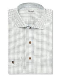 Camisa de vestir a cuadros blanca de Drakes