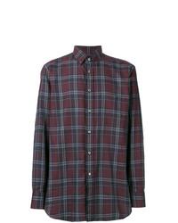 Camisa de vestir a cuadros burdeos de Brioni