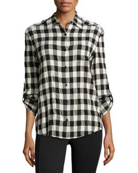 Camisa de vestir a cuadros en negro y blanco