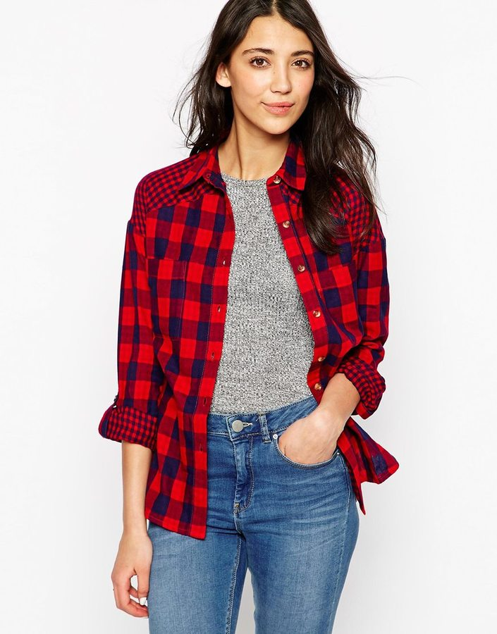comprar online precio favorable último vendedor caliente Camisa de vestir a cuadros en rojo y azul marino