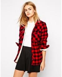 Camisa de vestir a cuadros en rojo y negro de Only